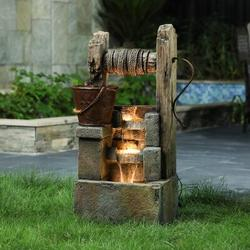 """August Grove® Resin Rustic Well & Planter Outdoor Fountain w/ LED Light, Resin in Brown/Gray, Size 33""""H X 16""""W X 12""""D 