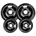 5304430149 and 5304430150 Porcelain Burner Drip Pan Bowls 318067041 and 318067051 Electric Range Cooktop By AMI PARTS Includes 2 8-Inch and 2 6-Inch Pans