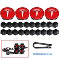 Wheel Center Hub Caps for Tesla Model 3, S & X Set Aero,Set of Tesla Logo Wheel Caps +Center Hub Nut Cap Lug Nut Cove+Tire Valve Stem Caps Cover with Keychain for Tesla(Red)
