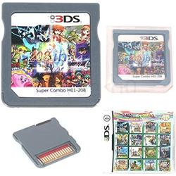 DS Games Card, 208 in 1 Cartridge Multicart. Compatible Nintendo DS, NDS, NDSL, 3DS, 2DS, XL LL, DS Lite.