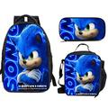 BQVIVYI S-onic The Hed-gehog Logo Teens School Backpack Set 3 Piece with Bookbag,Lunch Bags and Pencil Case for Kids Boys Girls