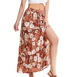 lwtihsth Women's Skirts Summer High Waisted Skirt for Women Skirts Causual Long Maxi Wrap Skirts for Womens Skirts for Work Orange