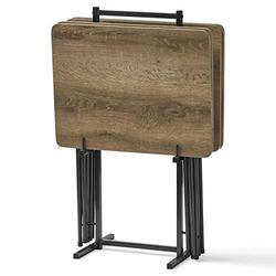 5 Piece Tray Table Set Folding Wood TV Game Snack Dinner Laptop Stand Rustic B-Tv Tray Stand-Wood tv Trays-Tv Tray-Tv Tray Desk-Tv Trays-Tv Tray Wood