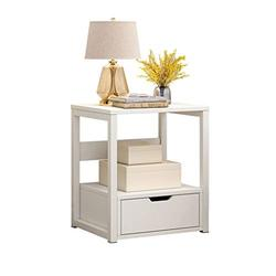 Side End Table Simple Small Coffee Table Economical Household Bedside Table Multi-Layer Storage Height 50cm (Brown/White) Couch Table (Color : White)