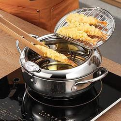 Holzkary Tempura Deep Fryer Pan, Kitchen Deep Fryer Pan with Thermometer and Oil Drip Rack Lid, Japanese Style Temperature Control Fryer Pot for Fries Fish/Shrimp Oil Deep Fryer