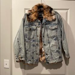 Urban Outfitters Jackets & Coats   Faux Fur And Jean Jacket   Color: Blue   Size: L