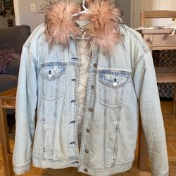 American Eagle Outfitters Jackets & Coats | Faux Fur-Lined Denim Jacket | Color: Blue/Pink | Size: S