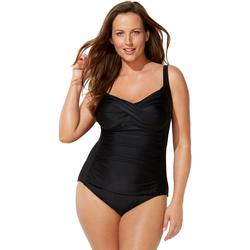 Plus Size Women's Ruched Twist Front One Piece Swimsuit by Swimsuits For All in Black (Size 32)