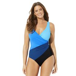 Plus Size Women's Colorblock Surplice One Piece Swimsuit by Swimsuits For All in Blue Combo (Size 22)