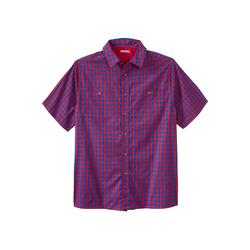 Men's Big & Tall Short Sleeve Printed Sport Shirt by KingSize in Red Check (Size 7XL)