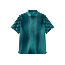 Men's Big & Tall Short Sleeve Printed Sport Shirt by KingSize in Tidal Green Check (Size XL)
