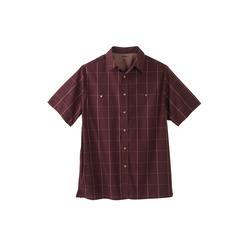 Men's Big & Tall Short Sleeve Printed Sport Shirt by KingSize in Window Pane (Size 6XL)
