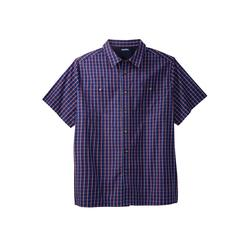 Men's Big & Tall Short Sleeve Printed Sport Shirt by KingSize in Navy Check (Size XL)
