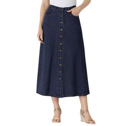 Plus Size Women's Button Front Long Denim Skirt by Woman Within in Indigo (Size 38 WP)