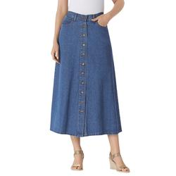 Plus Size Women's Button Front Long Denim Skirt by Woman Within in Medium Stonewash (Size 38 WP)