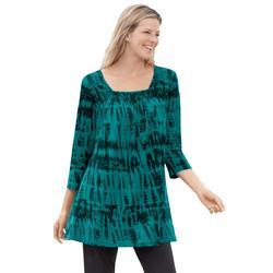 Plus Size Women's Tie-Dye Smocked Square-Neck Tunic by Woman Within in Waterfall Tie Dye (Size 38/40)