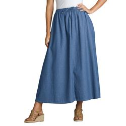 Plus Size Women's Flared Denim Skirt by Woman Within in Stonewash (Size 38 WP)