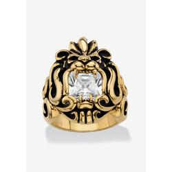Men's Big & Tall Men's Gold Ion-Plated Stainless Steel Cubic Zirconia Lion's Head Ring by PalmBeach Jewelry in Cubic Zirconia (Size 12)