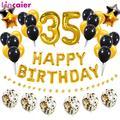 Ballons en aluminium numéro 35 pour hommes et femmes, 38 pièces, en Latex noir or, décoration de