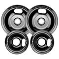 W10290350 and W10290353 Porcelain Burner Drip Pan Bowls Replacement By AMI PARTS Fits Whirlpool Electric Range Cooktop Includes 2 8-Inch and 2 6-Inch Pans