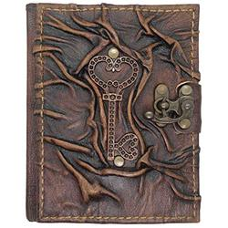 Key of Love Ornamented Leather Notebook - Handmade Genuine Leather - Rustic Handmade Vintage Leather Bound Journals for Men and Women - Leather Book Diary Pocket Notebook, Black - 4.7x6 inch 240 pages