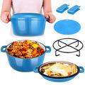2 in 1 Enamel Cast Iron Dutch Oven with Skillet Lid, 6 Quart Cast Iron Cookware Kit with Mat, Handle Covers & Camping Stand, Cast Iron Pot/Pan for Frying Electric Stove Cooking Induction Cooker (Blue)