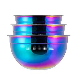 Strainer Colander Set, Rainbow Mixing Bowls Set 18/8 Stainless Steel Salad Bowl 3-Piece Mesh Micro-Perforated Nesting Bowl Deep for Mixing or Washing, Food Preparation Bowl Includes 1.5 L, 2.5L, 4L