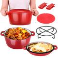 2 in 1 Enamel Cast Iron Dutch Oven with Skillet Lid, 6 Quart Cast Iron Cookware Kit with Mat, Handle Covers & Camping Stand, Cast Iron Pot/Pan for Frying Electric Stove Cooking Induction Cooker (Red)