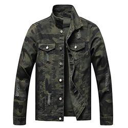 CHUNYEMEN Mens Ripped Jeans Jacket Fashion Slim Denim Jacket for Men (Camouflage1805, X-Large)