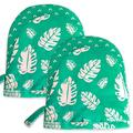 1 Pair Cotton Pot Holders with Pocket Heat Resistant Short Oven Mitts for Cooking or Baking,Oven Mitts and Pot Holders (Short, Green)