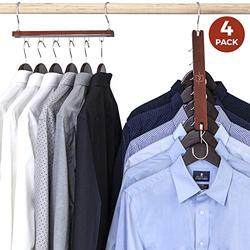 MORALVE Space Saving Hangers for Closet Organizer - 4 Pack Wood Shirt Organizer for Closet Space Saver Hangers for Clothes - Closet Clothes Hanger Organizer Stacker Space Saving Collapsible Hangers