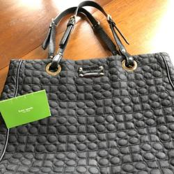 Kate Spade Bags   Kate Spade Black Quilted Tote Leather Handles   Color: Black   Size: 12 Inches Tall 13 Inches Long 3 14 Inches Wide