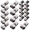 5pcs 1 Pin 1 Way and 5pcs 2 Pin 2 Way Low Voltage Universal Compact Wire with 10pcs 2 Pin 2 Way Universal Compact Wire Terminals,Quick Splice Wire Wiring Connector for AWG 24-20 (Lot of 20pcs,3sizes)