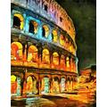 Paint by Numbers Kits Digital Oil Painting for Kid Adult Beginner Drawing Paintwork with Frame Home Office Gift Indoor Outdoor - Colorful Illumination of Colliseum at Night Oil Painting