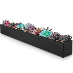"""Modern Rectangle Planter Box - 32"""" Metal Planter Ideal as a Long Succulent Planter   Rectangular Planter Box for Table or Window Sill Planters Indoor   Trough Planter for Indoor Window Planter   Black"""