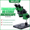CHUNSHENN RELIFE RL-M3T-B1 Trinocular Stereo Microscope 7X-45X Zoom Matched With HDMI Camera LED Light for Mobile Repair Microscope (Color : 7X 45X)