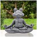 TOPHELLO Meditating Zen Frog Statue - Zen Animal Yoga Frog Figurine for Indoor Outdoor Lawn Garden Decor for Outdoor Lawn Decor for Flower Beds, Fairy Gardens, and More (Gray) (9.5x13X5.5cm)