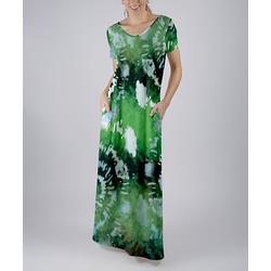 Beyond This Plane Women's Maxi Dresses GRN - Green & Gray Tie-Dye Pocket Short-Sleeve Maxi Dress - Women & Plus