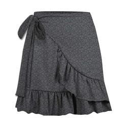 UDEAR Women's Casual Skirts Dark - Dark Gray Ruffle Wrap Skirt - Women & Plus