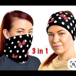 Disney Accessories | Disney Scarf Head Bnd Mask Neck Gaiter | Color: Black/Red | Size: Os