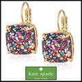 Kate Spade Jewelry | Kate Spade Square Lever Back Confetti Earrings | Color: Black/Gold | Size: Os