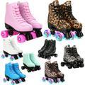 Patins à roulettes en cuir microfibre, chaussures d'extérieur pour hommes et femmes, patineuses à 4