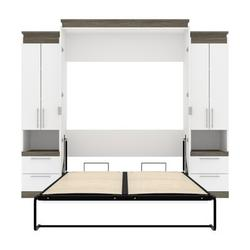 Mercury Row® Arrington Storage Murphy Bed Wood in White, Size 89.7 H x 103.6 W x 20.2 D in | Wayfair 5ED91293435E44FE8106E01C1006D5B8