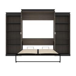 Brayden Studio® Ailed Queen Storage Murphy Bed Wood in Gray, Size 89.7 H x 123.6 W x 20.2 D in   Wayfair 7787F5061B7F4555965E07B13EBD97EF