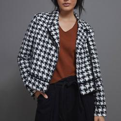 Anthropologie Jackets & Coats | Htf Anthropologie Waverly Houndstooth Moto Jacket | Color: Black/White | Size: 2p