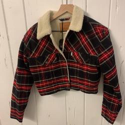 Levi's Jackets & Coats   Levis Women Red Plaid Corduroy Cropped Jacket   Color: Black/Red   Size: S