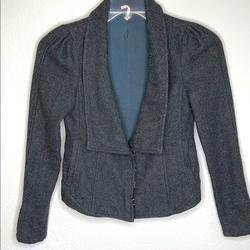 Free People Jackets & Coats | Free People Wool Houndstooth Cropped Jacket | Color: Black/Gray | Size: 0