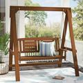 "Millwood Pines Fina Hardwood Hanging Porch Swing w/ Stand, Wood in Brown/Beige, Size 47.3"" L x 65.5"" W x 65"" H 