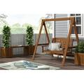"""Millwood Pines Fina Hardwood Hanging Porch Swing w/ Stand, Wood in Brown/Beige, Size 47.3"""" L x 65.5"""" W x 65"""" H 