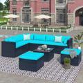 Latitude Run® 9-Piece Outdoor Patio PE Wicker Rattan Conversation Sectional Sofa Sets w/ 3 Sofa, 3 Corner Sofa, 2 Ottomans, & 1 Glass Coffee Table